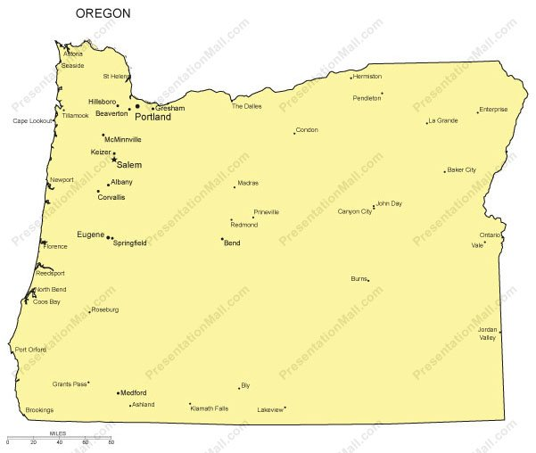 Oregon Outline Map With Capitals Major Cities Digital Vector - Map oregon cities