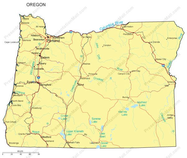 Oregon Powerpoint Map Counties Major Cities And Major Highways