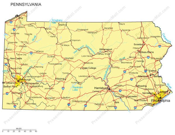 Pennsylvania PowerPoint Map  Counties Major Cities And