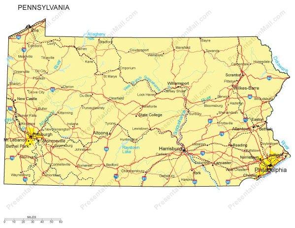 Pennsylvania PowerPoint Map - Major Cities, Roads, Railroads ...