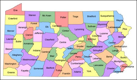 Pennsylvania PowerPoint County Map