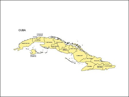 Map of Cuba with Provinces