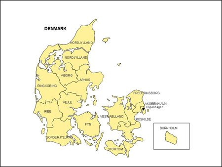 Map of Denmark with Provinces