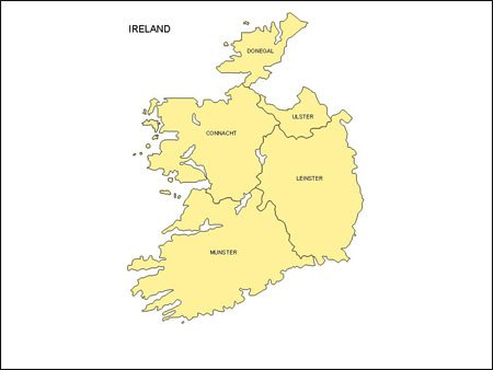 Map of Ireland with Provinces