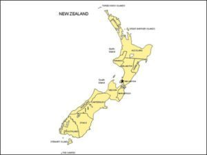 Map of New Zealand with Provinces