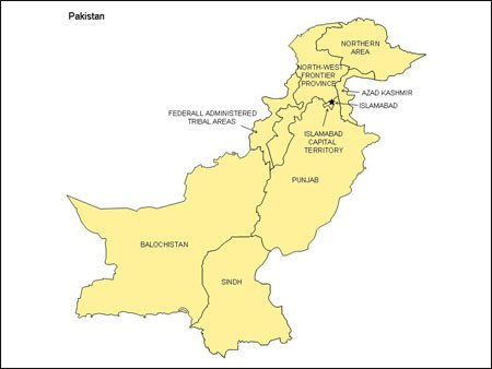 Map of Pakistan with Provinces