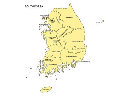 Map of South Korea with Provinces