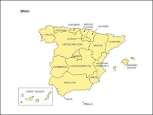 Map of Spain with Provinces