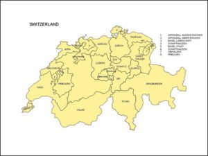 Map of Switzerland with Provinces