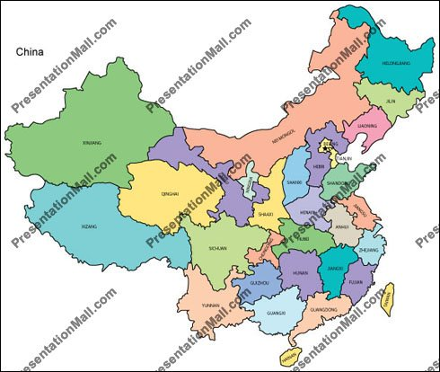 Map of China   Editable Vector, Illustrator, PDF and WMF