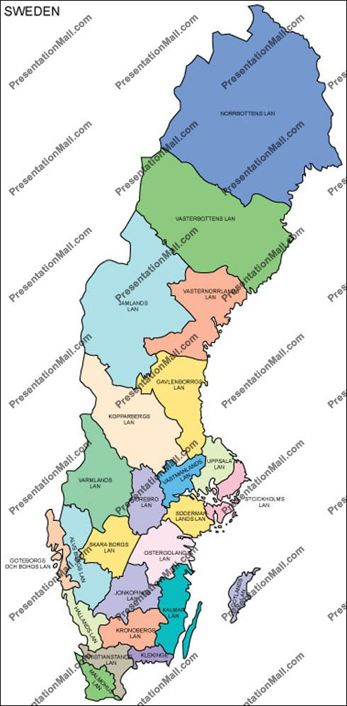 Map Of Sweden Editable Vector Illustrator PDF And WMF - Sweden map pdf