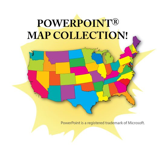 PowerPoint Map Collection USA US States Continents Counties - Us map interactive free