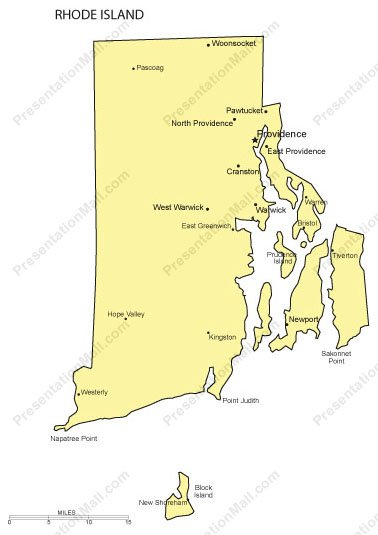 Rhode Island Map with Cities