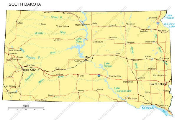 South Dakota PowerPoint Map  Counties Major Cities and Major