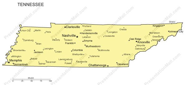 Tennessee Powerpoint Map Major Cities