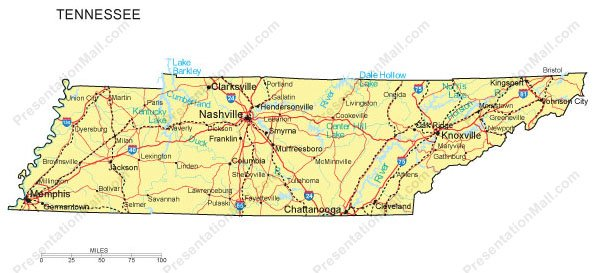 Tennessee PowerPoint Map Major Cities Roads Railroads Waterways - Tennessee waterways map