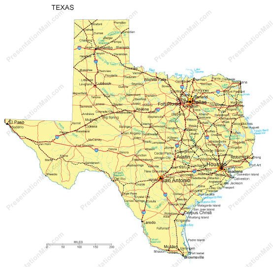 Texas PowerPoint Map Major Cities Roads Railroads Waterways - Us waterways map