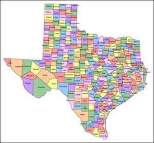 Texas Map with counties and names