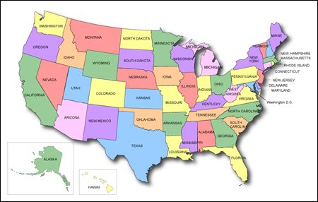 United States PowerPoint Map US States With Counties USA - Map of the us states