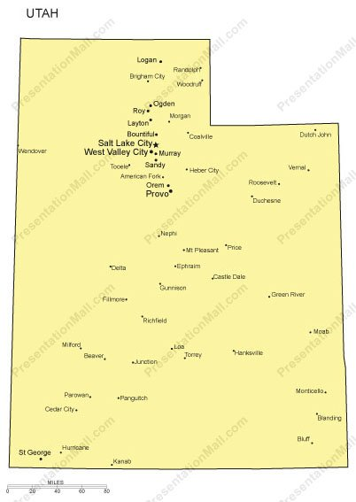Utah PowerPoint Map- Major Cities
