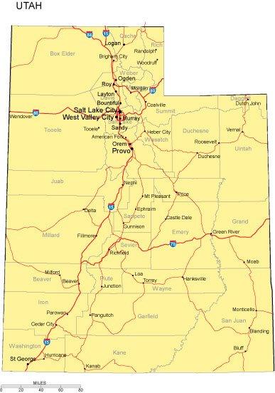 Utah Map  PresentationMall