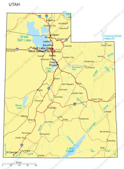 Utah Map Counties Major Cities And Major Highways Digital
