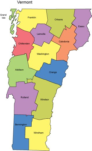 Vermont PowerPoint Map Counties
