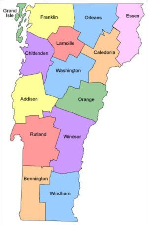 County Vermont Map