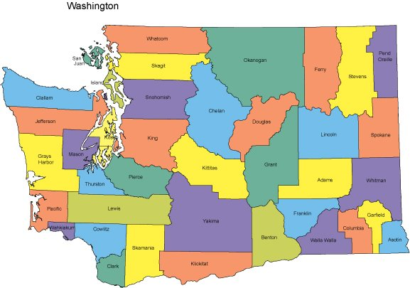 Washington Map with Counties