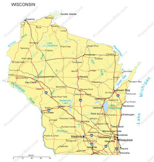 Wisconsin Map  Major Cities Roads Railroads Waterways
