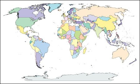 Map Of The World Without Countries.World Map With Countries Adobe Illustrator Ai Editable Pdf