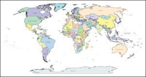 World Map with Countries, Capitals, Major Cities