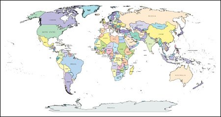 World Map with Countries Capitals Major Cities Adobe
