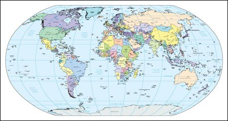 World Map with Gobal References Multi Color Adobe Illustrator