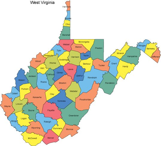 West Virginia PowerPoint Map Counties