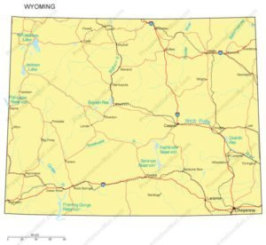 Wyoming PowerPoint Map Counties Major Cities And Major Highways - Wyoming map with counties and cities