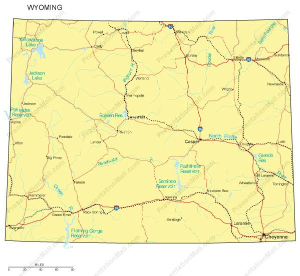 Wyoming PowerPoint Map Major Cities Roads Railroads Waterways - Wyoming map with cities